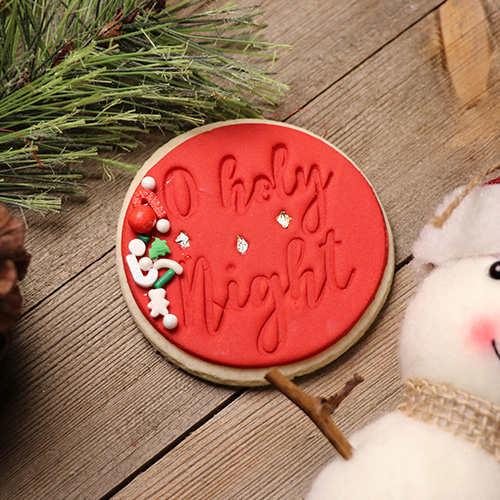 2 Round Fondant Christmas Cookie Embossing Stamp O Holy Night Bread Stamps