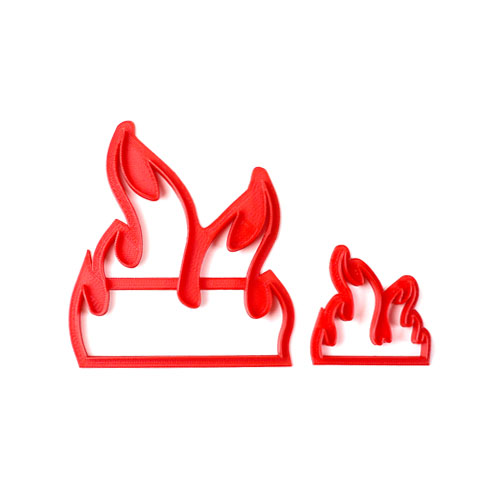 small and large flame fondant cutter
