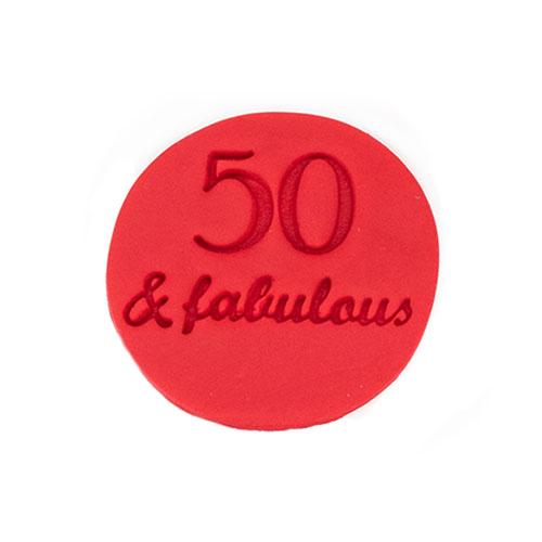 50 & fabulous cookie embosser