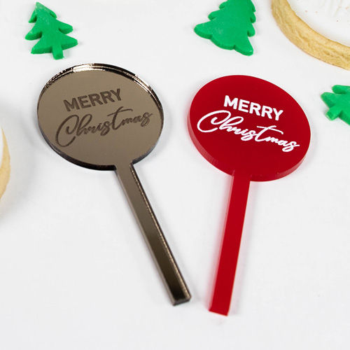 Merry Christmas Acrylic Cupcake Toppers